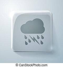 cloud rain lightning. Glass square icon