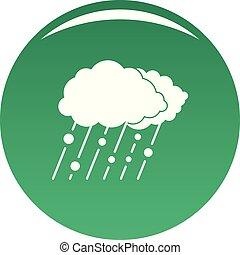Cloud rain snow icon vector green
