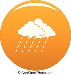 Cloud rain storm icon vector orange