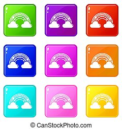 Cloud rainbow icons set 9 color collection