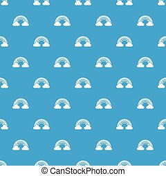 Cloud rainbow pattern vector seamless blue