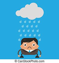 Illustration of cloud raining on sad business man
