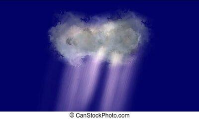cloud & rainstorm, rays light.
