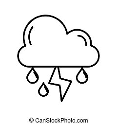 cloud rainy with thunder weather line style icon