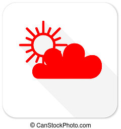 cloud red flat icon with long shadow on white background