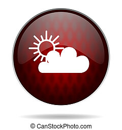 cloud red glossy web icon on white background