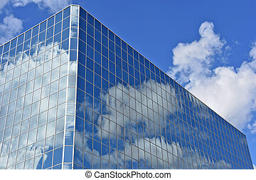 cloud reflection in glass building