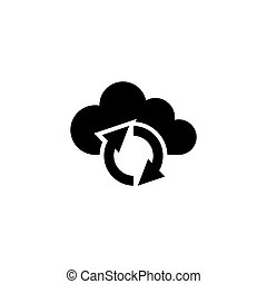 Cloud Reload Sync Refresh Flat Vector Icon