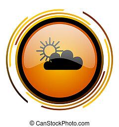 cloud round design orange glossy web icon