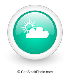 cloud round glossy web icon on white background