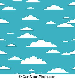 Cloud seamless pattern on blue background.