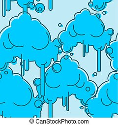 Cloud seamless pattern. Sky background. Abstract cloud with rain on white background