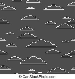 Cloud seamless pattern white contour on black background. Vector