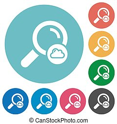 Cloud search flat round icons