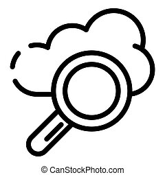 Cloud search icon, outline style