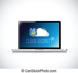 cloud security computer sign illustration