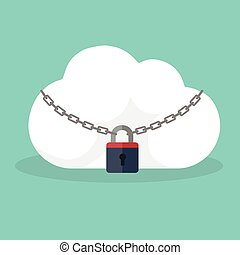 Cloud Security Concept. Cloud icon locked with biometric fingerprint padlock.