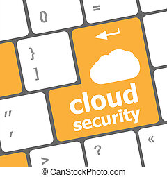 Cloud security concept showing cloud icon on computer key