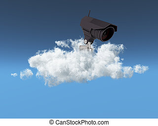 Cloud security concept with CCTV camera in a cloud
