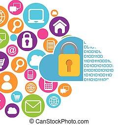 cloud security design - cloud security design, vector...