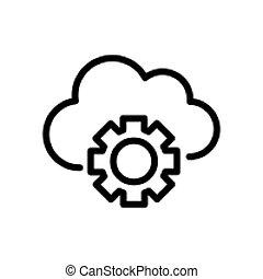 cloud security gear line icon vector illustration