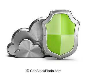 Cloud security - Shield protects the steel clouds. 3d image....