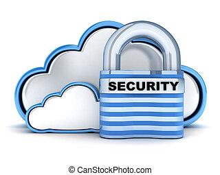Cloud security - Blue Cloud security (done in 3d)