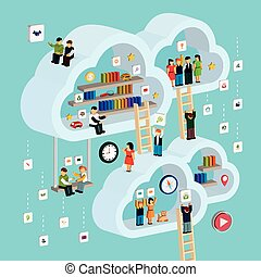 cloud service concept 3d isometric infographic with a man...