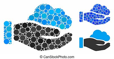 Cloud service hand Mosaic Icon of Spheric Items - Cloud ...