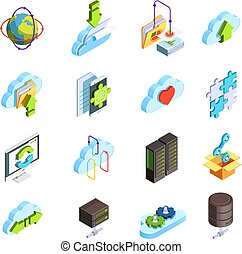 Cloud computing service isometric icons set with data folders connection sharing configuration apps symbols isolated vector illustration