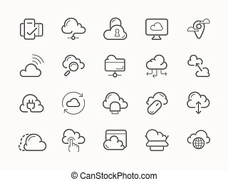 Cloud service server hosting line icons