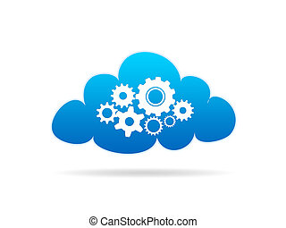 Cloud Services - A Cloud with mechanical gears on white...