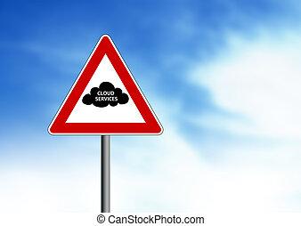 Cloud Services Road Sign