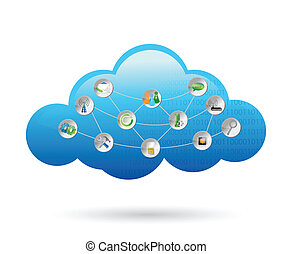 cloud settings tools illustration design over a white ...