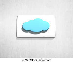 Cloud shape button on white wall
