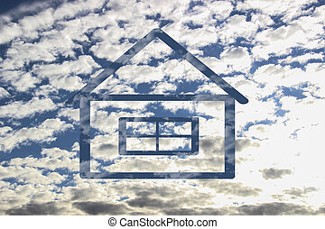 Cloud shaped as House currency sign, dreaming concept.