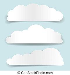 cloud-shaped, banieren, papier, set