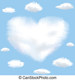 Cloud shaped heart on a sky