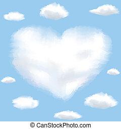 Cloud shaped heart on a sky