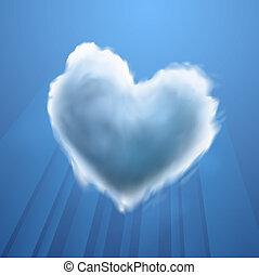 Cloud-shaped heart on a sky, vector Eps10 illustration.