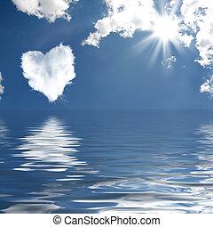 cloud-shaped, hjärta, på, a, sky