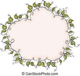 Cloud shaped leaves border frame