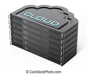 Cloud shaped network server rack stack. 3D illustration