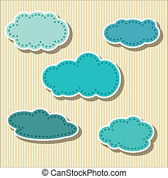 cloud-shaped, papier, ensemble, étiquettes