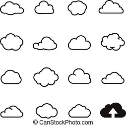 Cloud shapes collectio. icons for computing web and app. -...