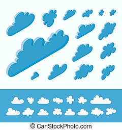 Cloud shapes collection. 3d vector illustration. Abstract...