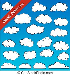 Cloud shapes collection. Cartoon Cloud contours set. - Cloud...