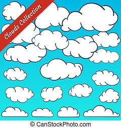 Cloud shapes collection. Cartoon Cloud contours set.