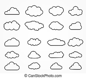 Cloud shapes collection. Cloud icons for cloud computing web...