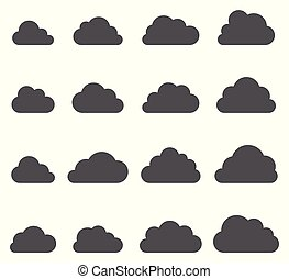 Cloud shapes collection on white background